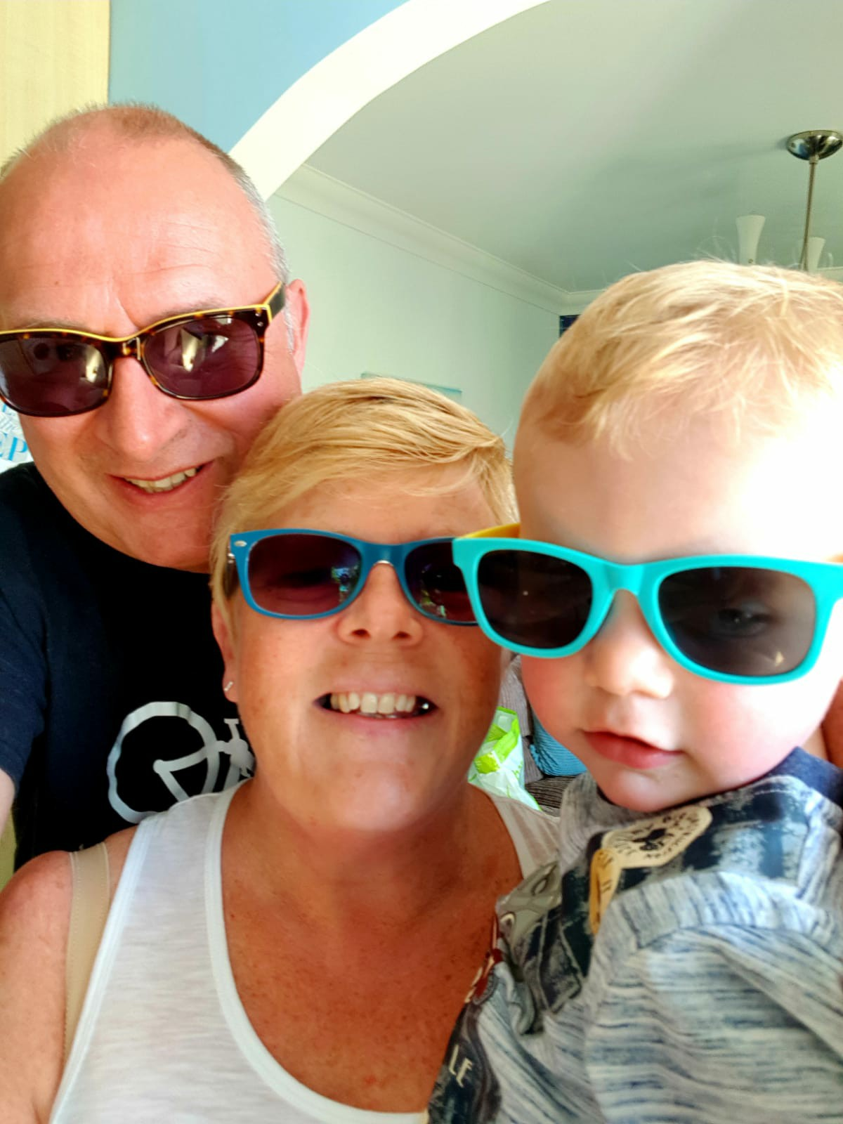 mary gibson partner and grandson with shades on, the celebrant angel aberdeen