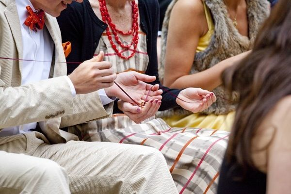 photo of wedding rings being past around the wedding guests on a string for a ring warming symbolic ritualsymbolic ritual ceremony with the celebrant angel