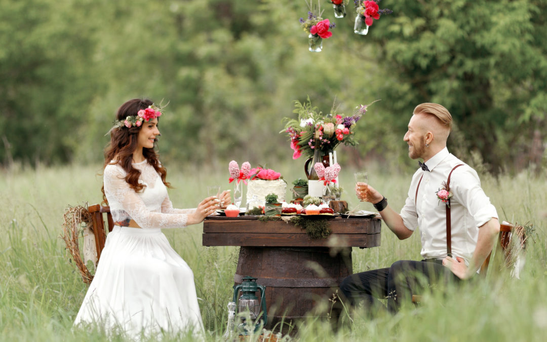 couple sitting in a field having lunch at a table after their commitment ceremony