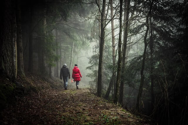 photo of a couple walking in a forest, she wears a red jacket, the fog is in front of them top tips on how to avoid wedding planning stress