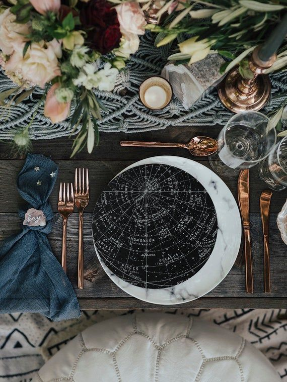 a table setting with a moon  theme how to choose a venue with the celebrant angel