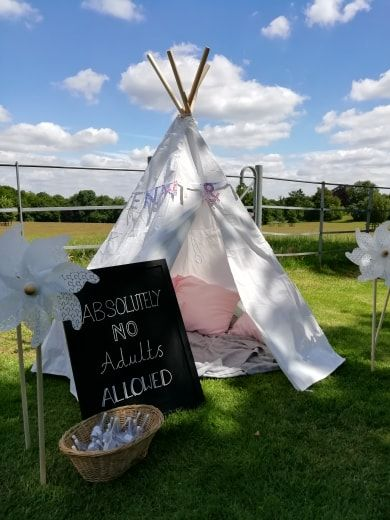 a kids tepee tent for an out door wedding ceremony with The Celebrant Angel Aberdeen