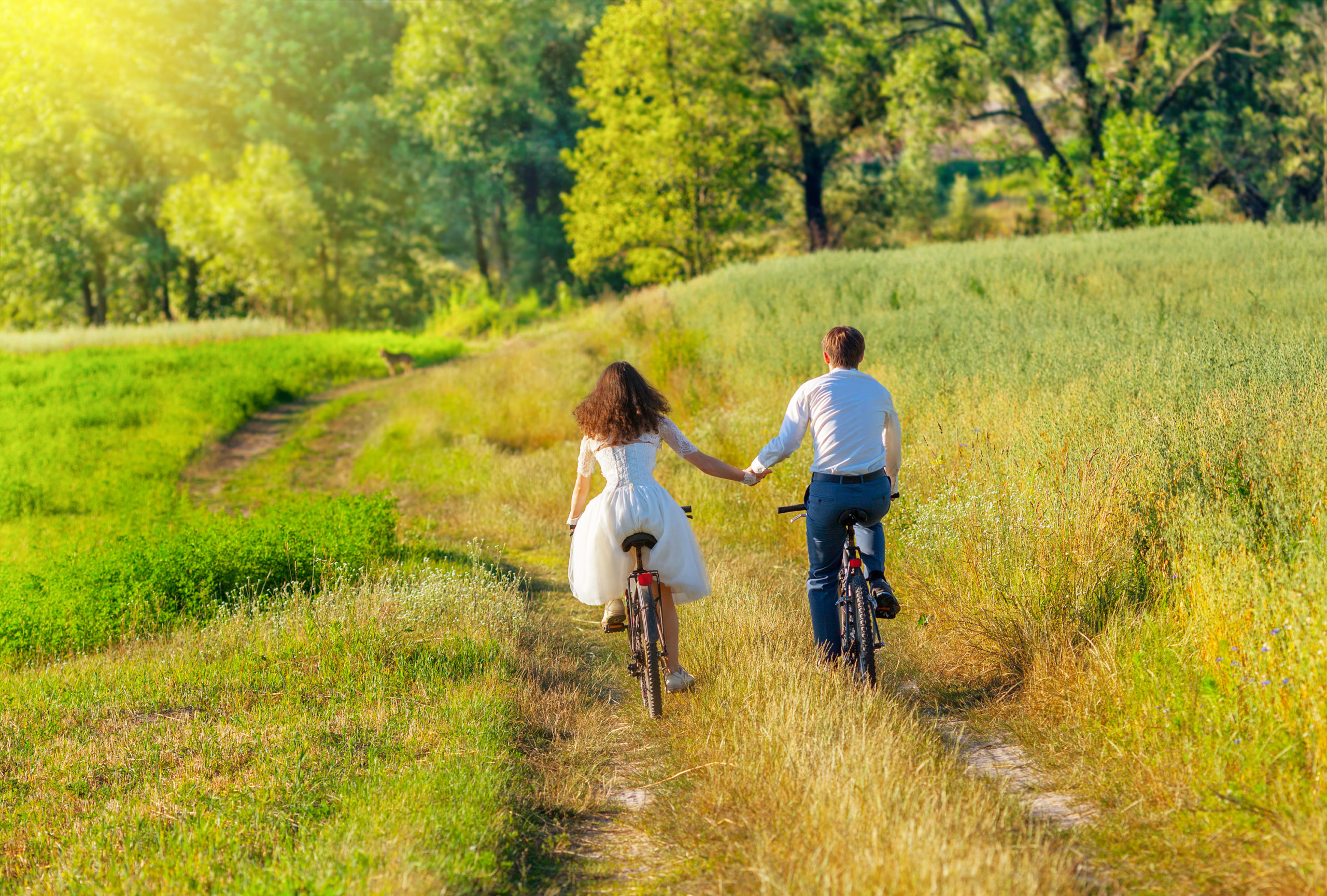 couple in wedding attire heading off in a field on their bikes celebrant led ceremony with the celebrant angel