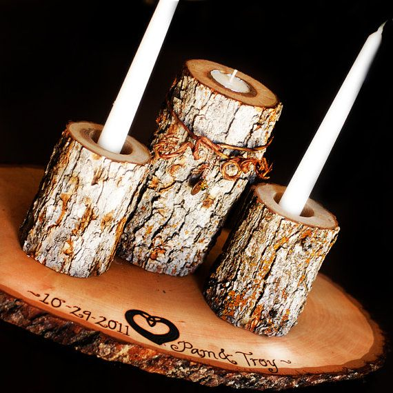 3 wooden candle stands with 2 candles unity candle ritual