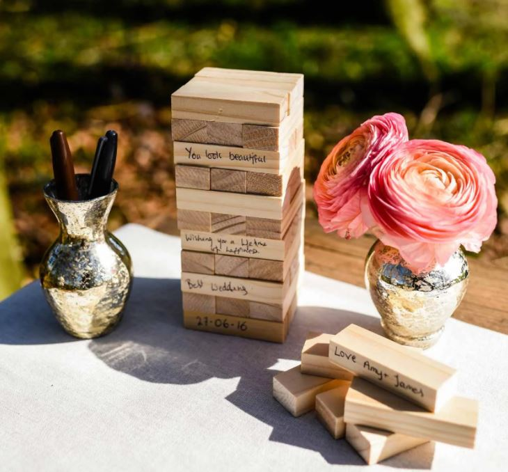 jenga wedding guest book with the celebrant angel aberdeen