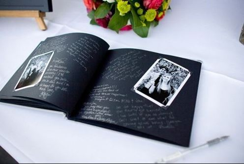 wedding guest book scrap book style with the celebrant angel