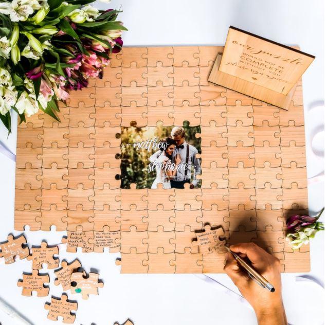 bride and groom wedding jigsaw 7 alternative wedding guest book ideas with the celebrant angel