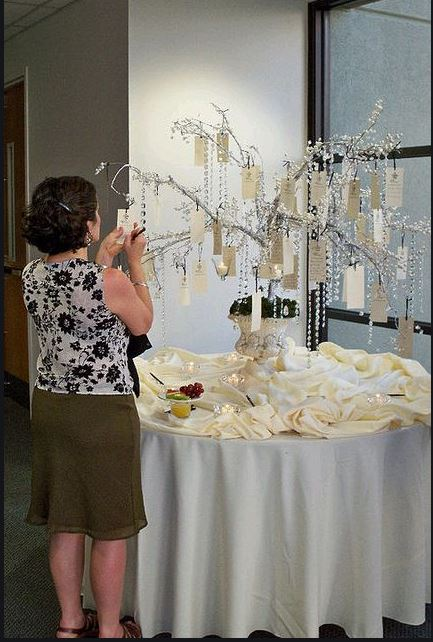 lady hanging a label onto a wedding guest book wishing tree with celebrant angel in aberdeen