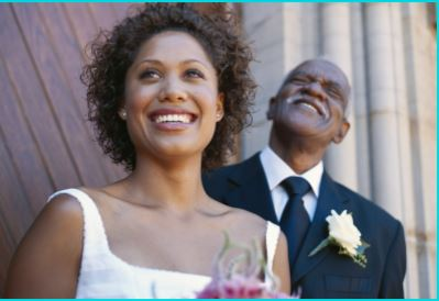 how do i stop myself blushing on my wedding day bride with father smiling with the celebrant angel