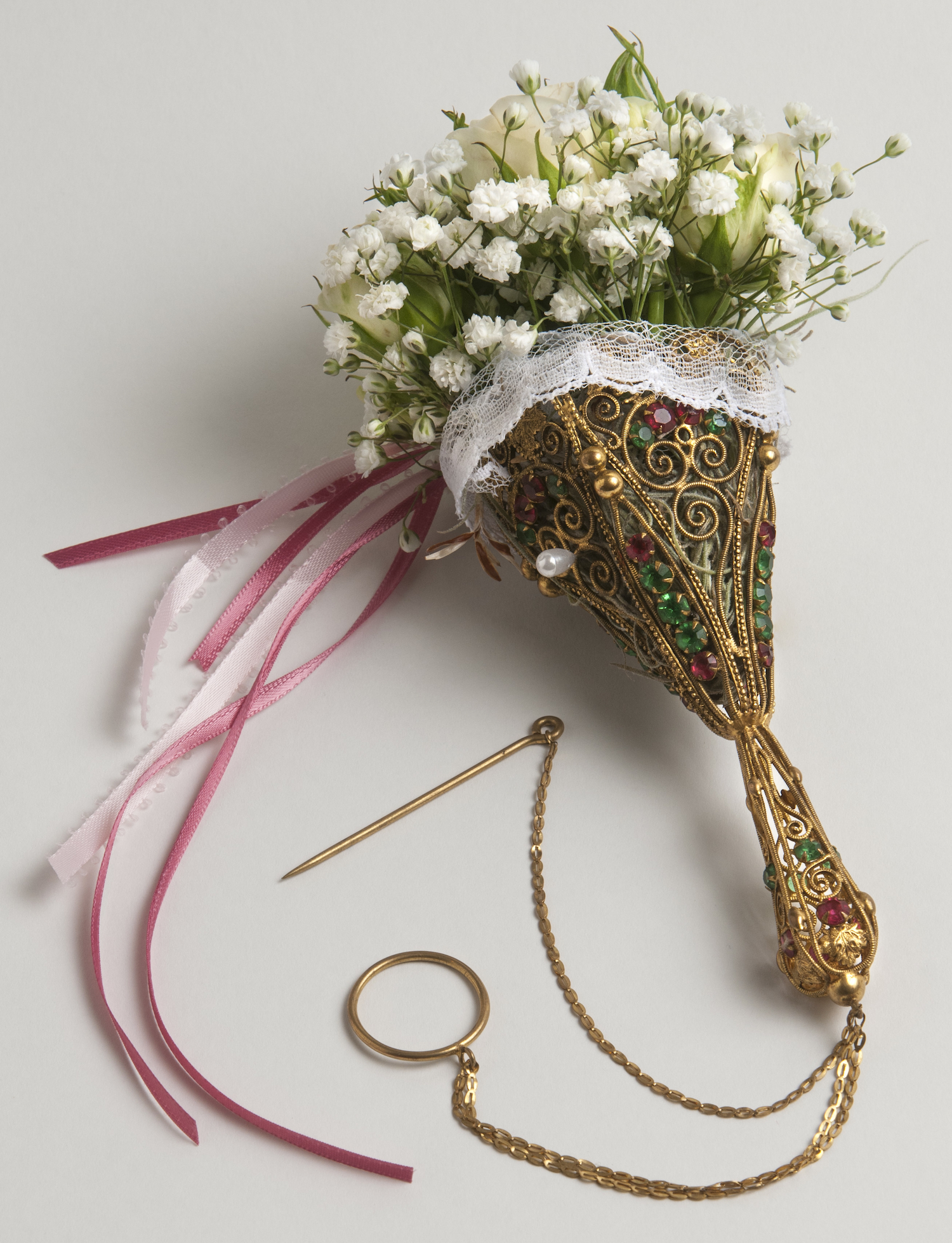 nosegay type of wedding bouquet with the celebrant angel
